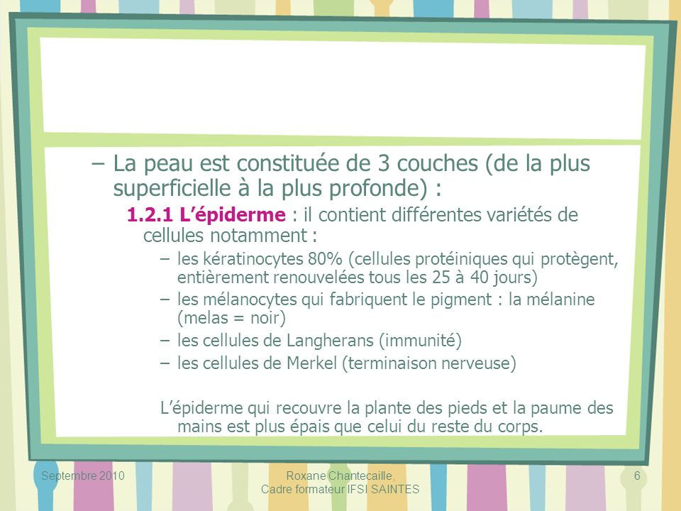 Septembre 2010Roxane Chantecaille, Cadre formateur IFSI SAINTES 47