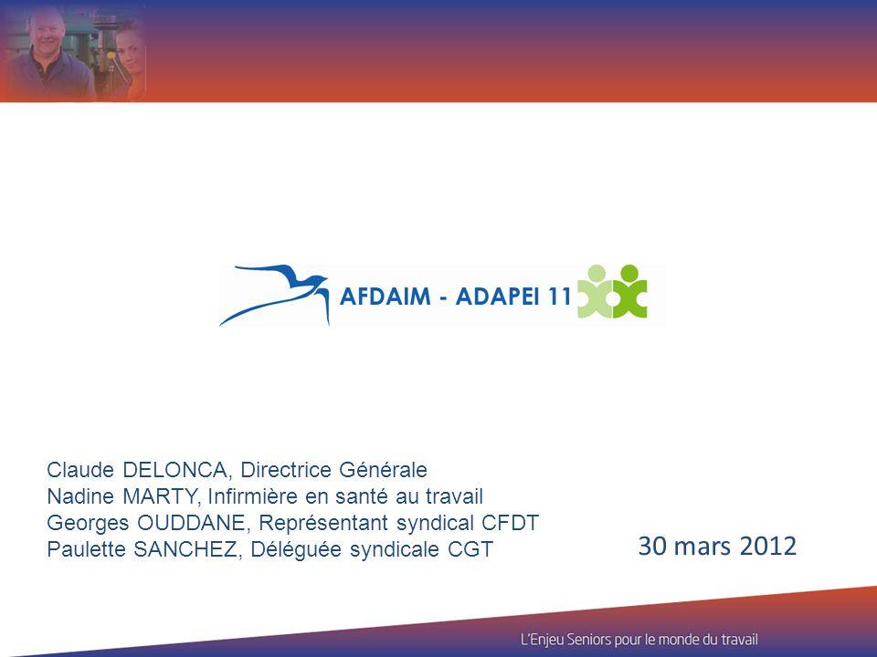 30 mars 2012 Claude DELONCA, Directrice Générale Nadine MARTY, Infirmière en santé au travail Georges OUDDANE, Représentant syndical CFDT Paulette SAN