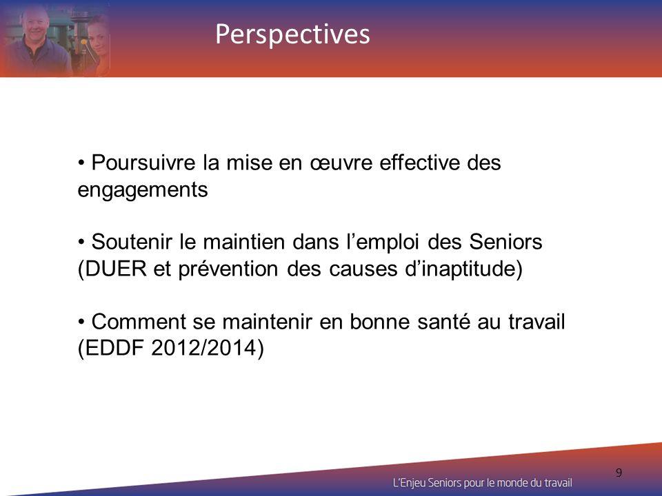 9 Poursuivre la mise en œuvre effective des engagements Soutenir le maintien dans lemploi des Seniors (DUER et prévention des causes dinaptitude) Comm