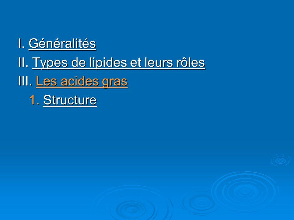 I. Généralités II. Types de lipides et leurs rôles III. Les acides gras 1. Structure