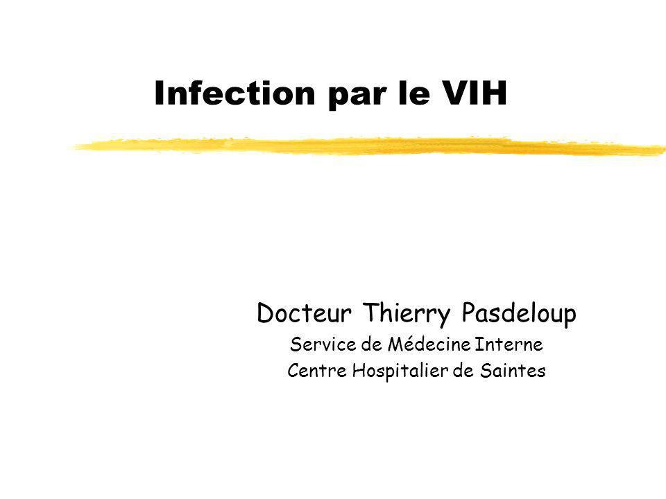 Infection par le VIH Docteur Thierry Pasdeloup Service de Médecine Interne Centre Hospitalier de Saintes