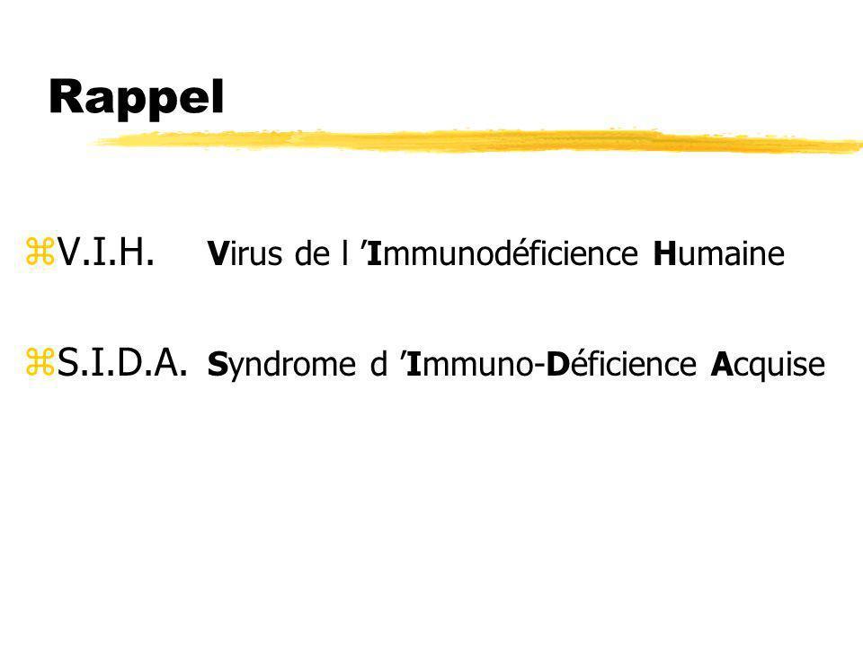Rappel zV.I.H. Virus de l Immunodéficience Humaine zS.I.D.A. Syndrome d Immuno-Déficience Acquise