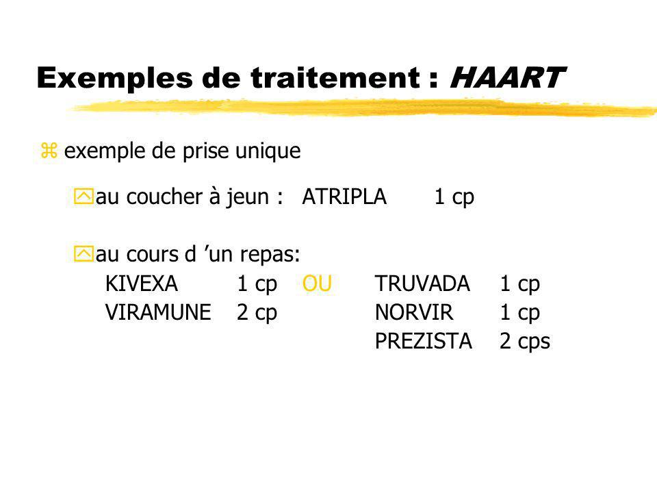 Exemples de traitement : HAART zexemple de prise unique yau coucher à jeun :ATRIPLA1 cp yau cours d un repas: KIVEXA1 cpOU TRUVADA 1 cp VIRAMUNE2 cp N