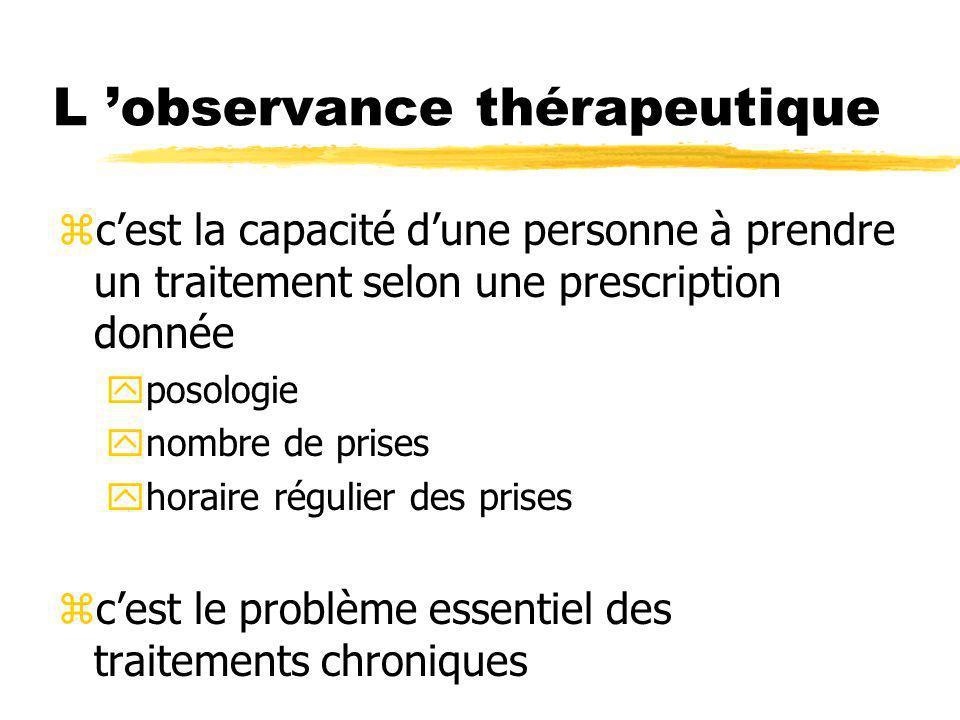 L observance thérapeutique zcest la capacité dune personne à prendre un traitement selon une prescription donnée yposologie ynombre de prises yhoraire