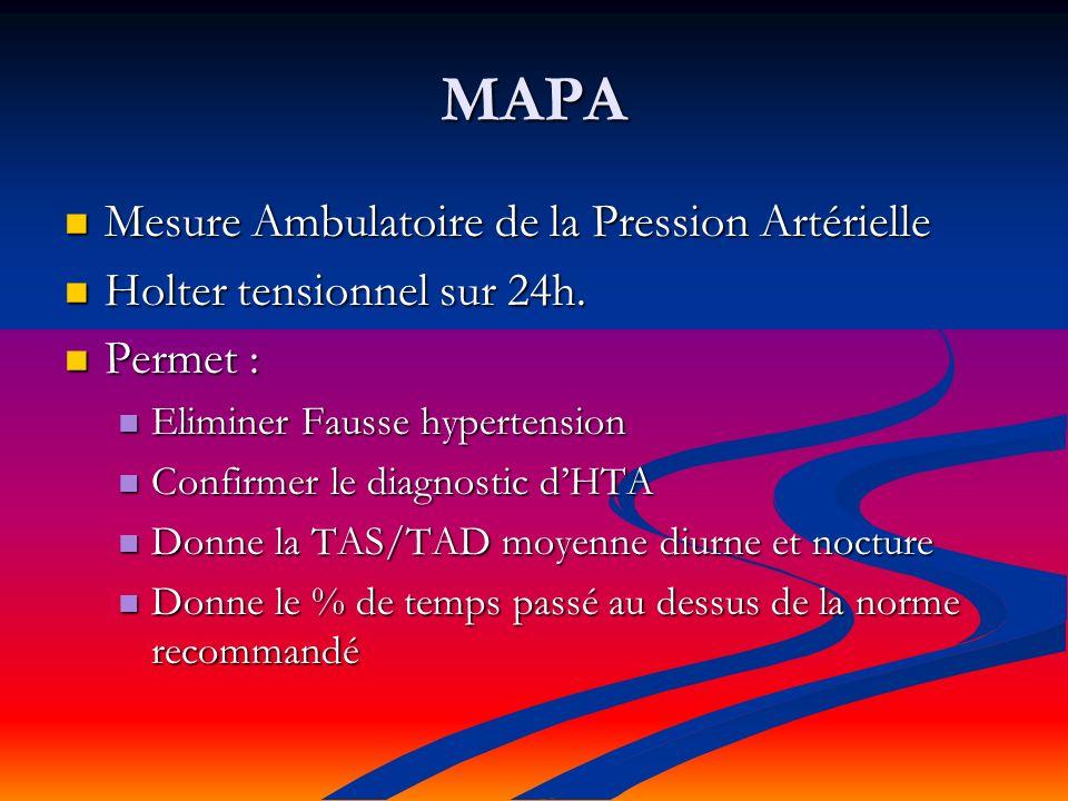 MAPA Mesure Ambulatoire de la Pression Artérielle Mesure Ambulatoire de la Pression Artérielle Holter tensionnel sur 24h.