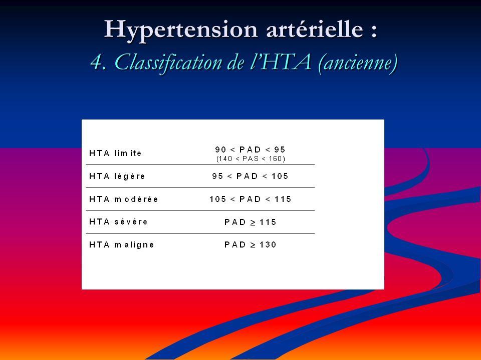 Hypertension artérielle : 4. Classification de lHTA (ancienne)
