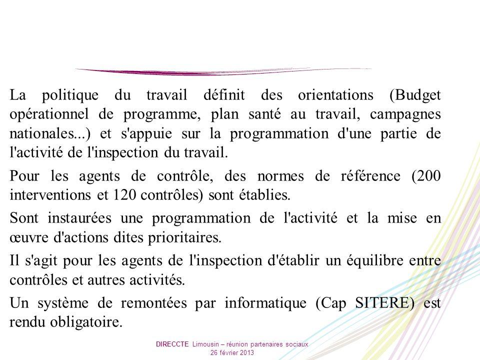 DIRECCTE Limousin – réunion partenaires sociaux 26 février 2013 La politique du travail définit des orientations (Budget opérationnel de programme, pl