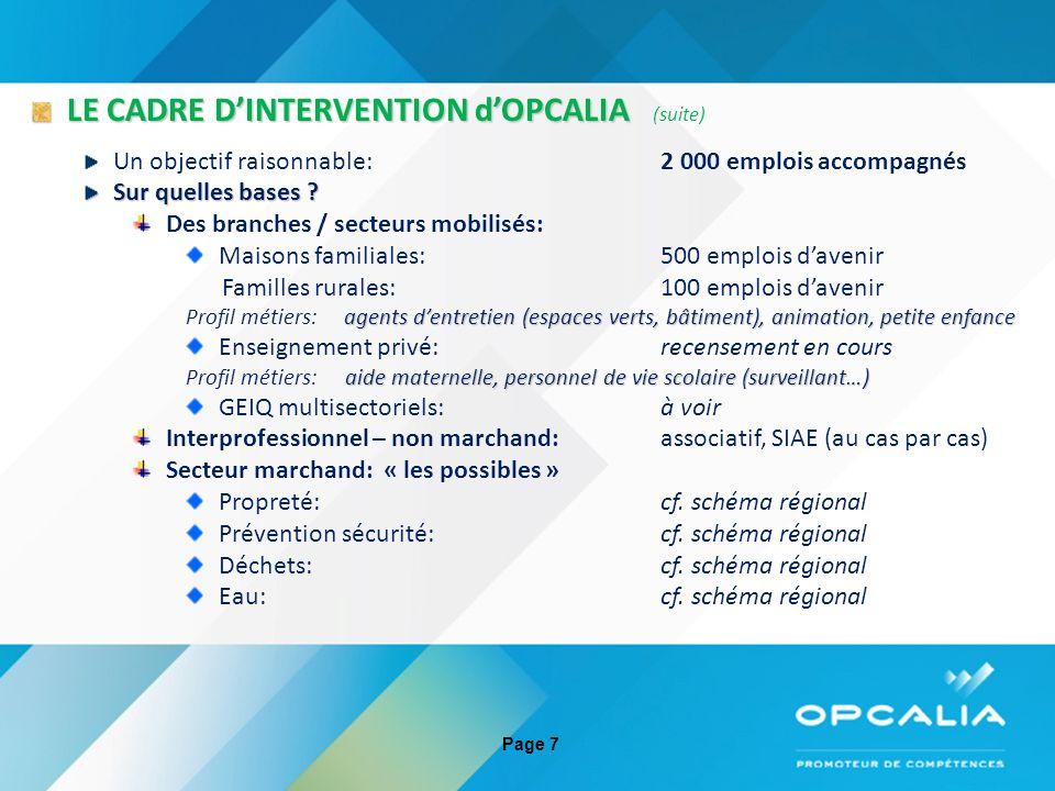 26 Séminaire régional emplois davenir du 29 mars 2013 LE CADRE DINTERVENTION dOPCALIA LE CADRE DINTERVENTION dOPCALIA (suite) Sur quels critères de prise en charge .