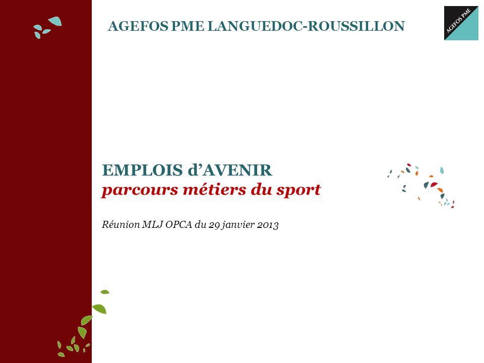AGEFOS PME LANGUEDOC-ROUSSILLON Au plan national Plus de 21 ans de présence continue 17 128 adhérents en 2012 En Languedoc-Roussillon 1035 adhérents en 2012 PARCOURS METIERS DU SPORT