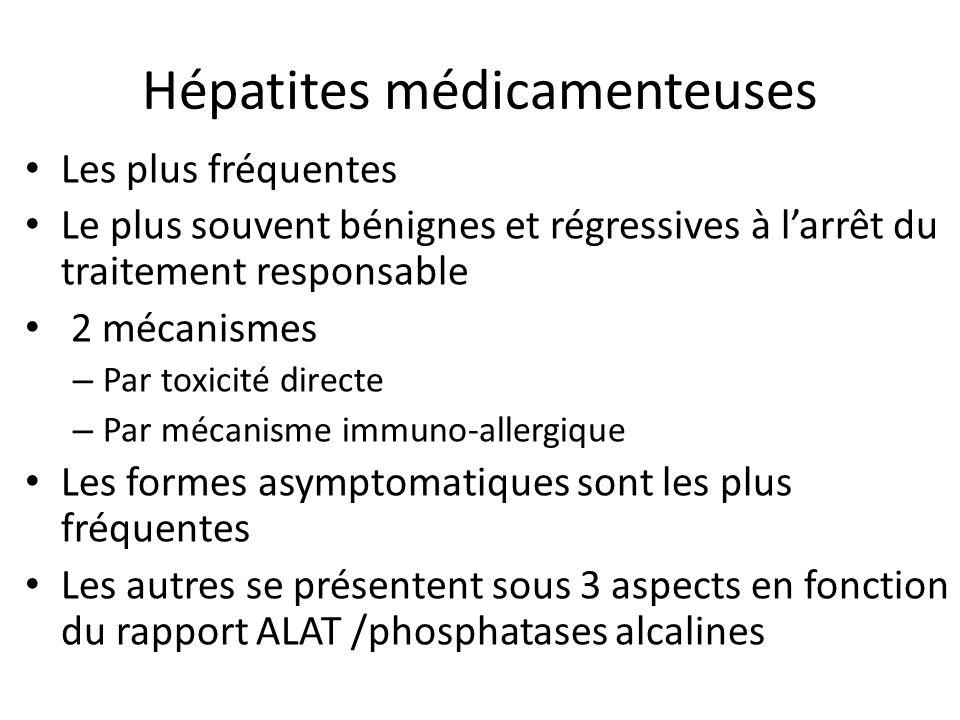 Hépatites médicamenteuses Les plus fréquentes Le plus souvent bénignes et régressives à larrêt du traitement responsable 2 mécanismes – Par toxicité d