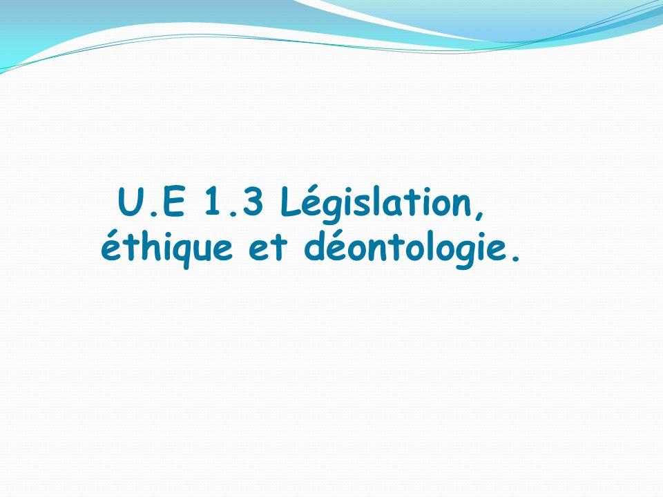 U.E 1.3 Législation, éthique et déontologie.