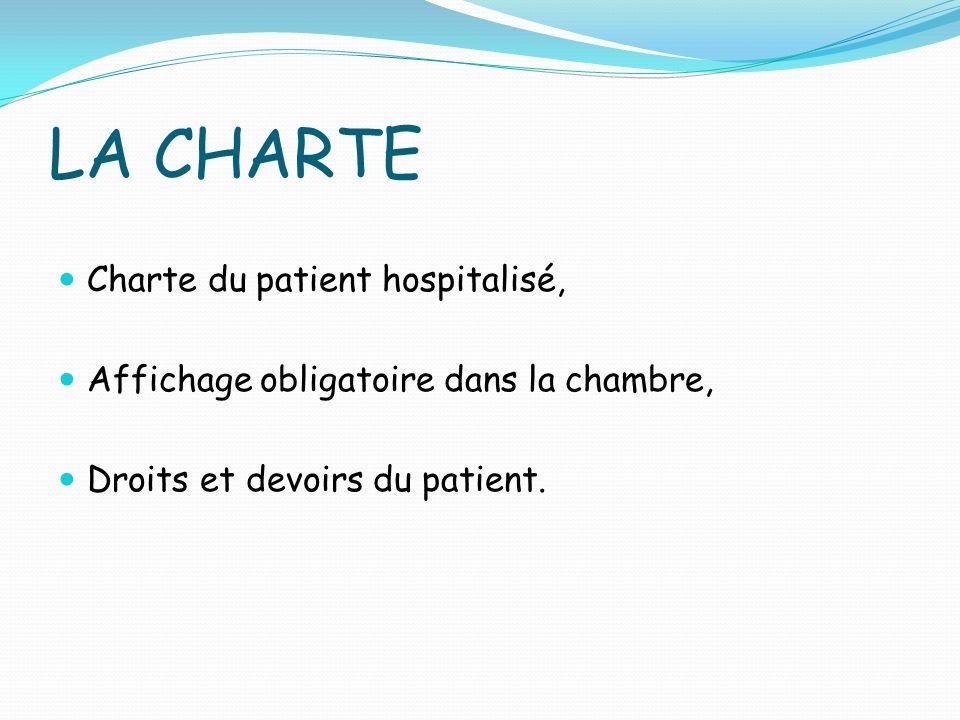 LA CHARTE Charte du patient hospitalisé, Affichage obligatoire dans la chambre, Droits et devoirs du patient.