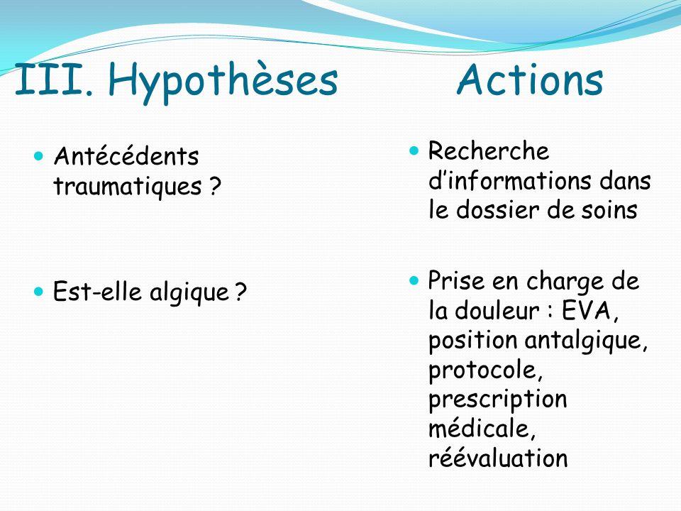III.Hypothèses Actions Antécédents traumatiques .