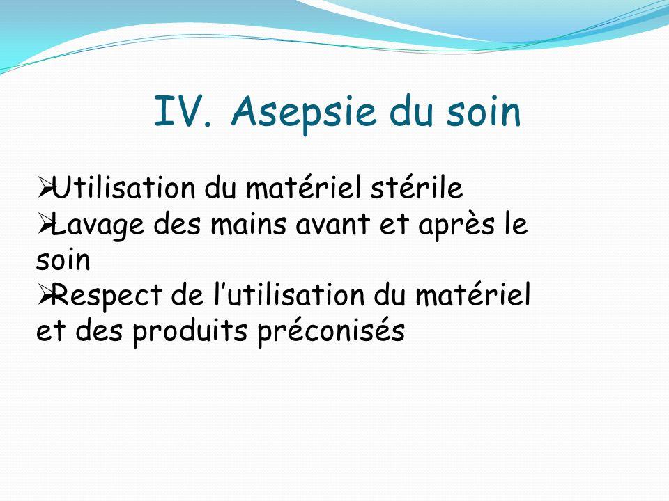 IV.Asepsie du soin Utilisation du matériel stérile Lavage des mains avant et après le soin Respect de lutilisation du matériel et des produits préconisés
