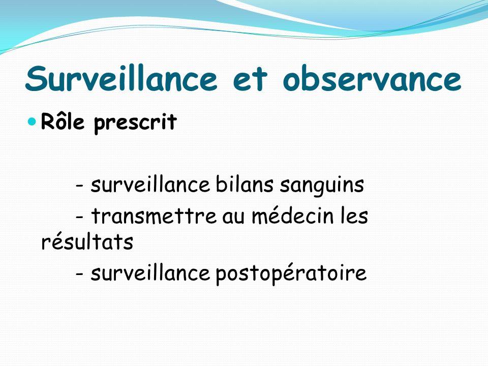 Surveillance et observance Rôle prescrit - surveillance bilans sanguins - transmettre au médecin les résultats - surveillance postopératoire