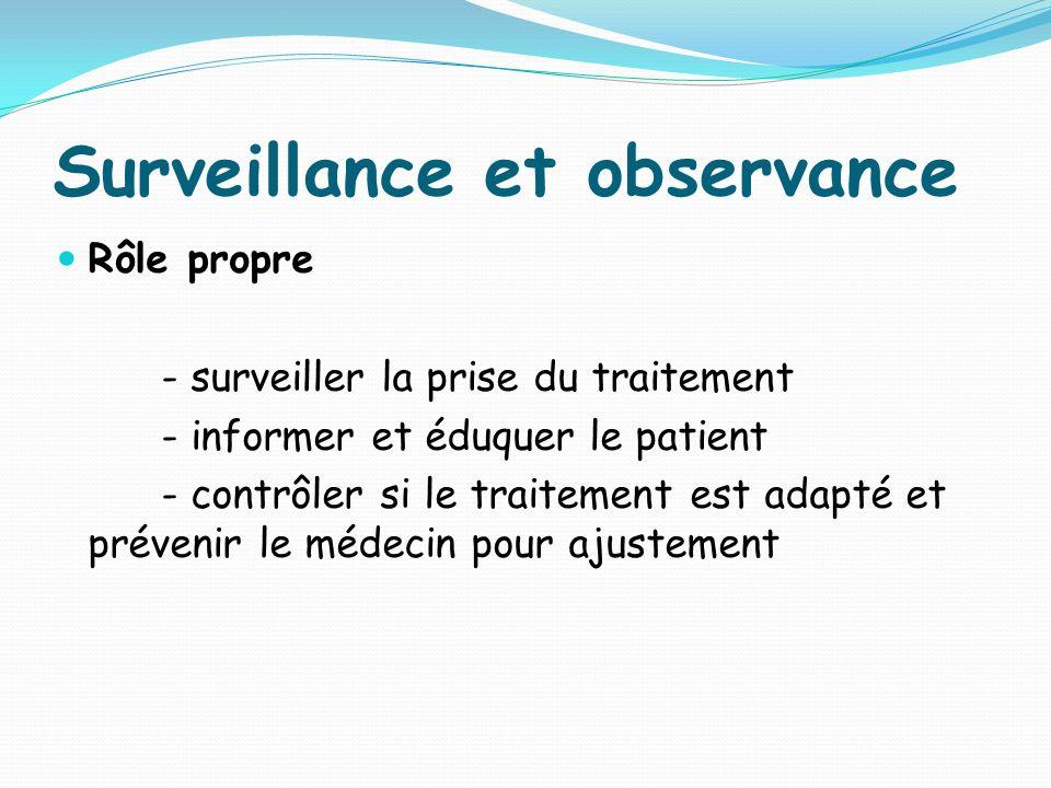 Surveillance et observance Rôle propre - surveiller la prise du traitement - informer et éduquer le patient - contrôler si le traitement est adapté et prévenir le médecin pour ajustement