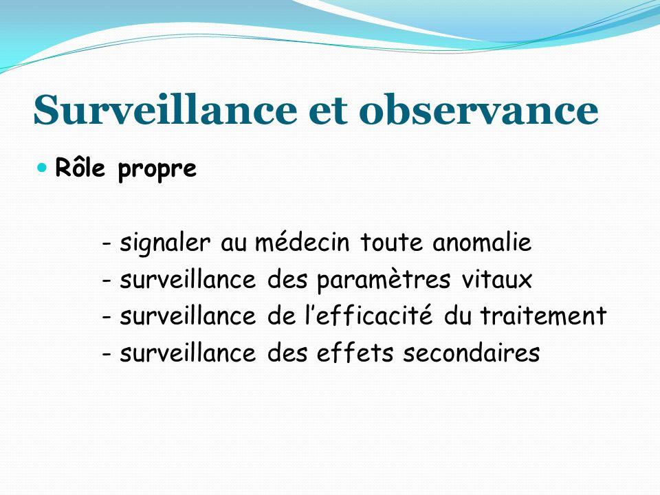 Surveillance et observance Rôle propre - signaler au médecin toute anomalie - surveillance des paramètres vitaux - surveillance de lefficacité du traitement - surveillance des effets secondaires
