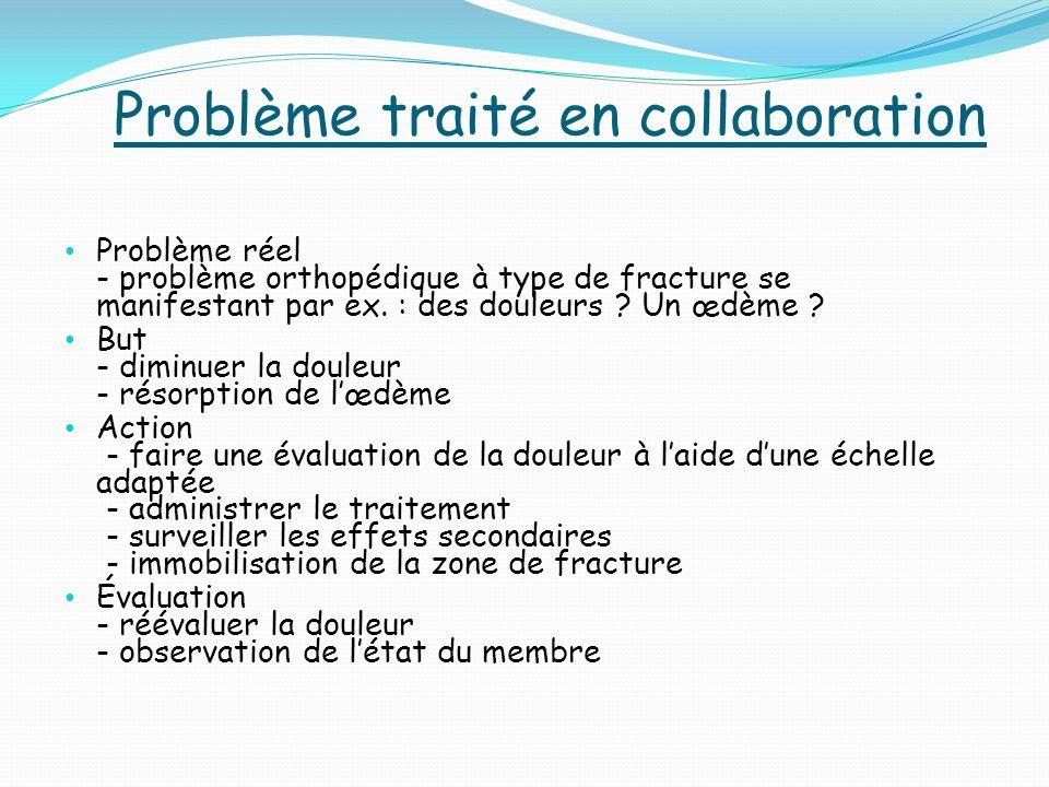 Problème traité en collaboration Problème réel - problème orthopédique à type de fracture se manifestant par ex.