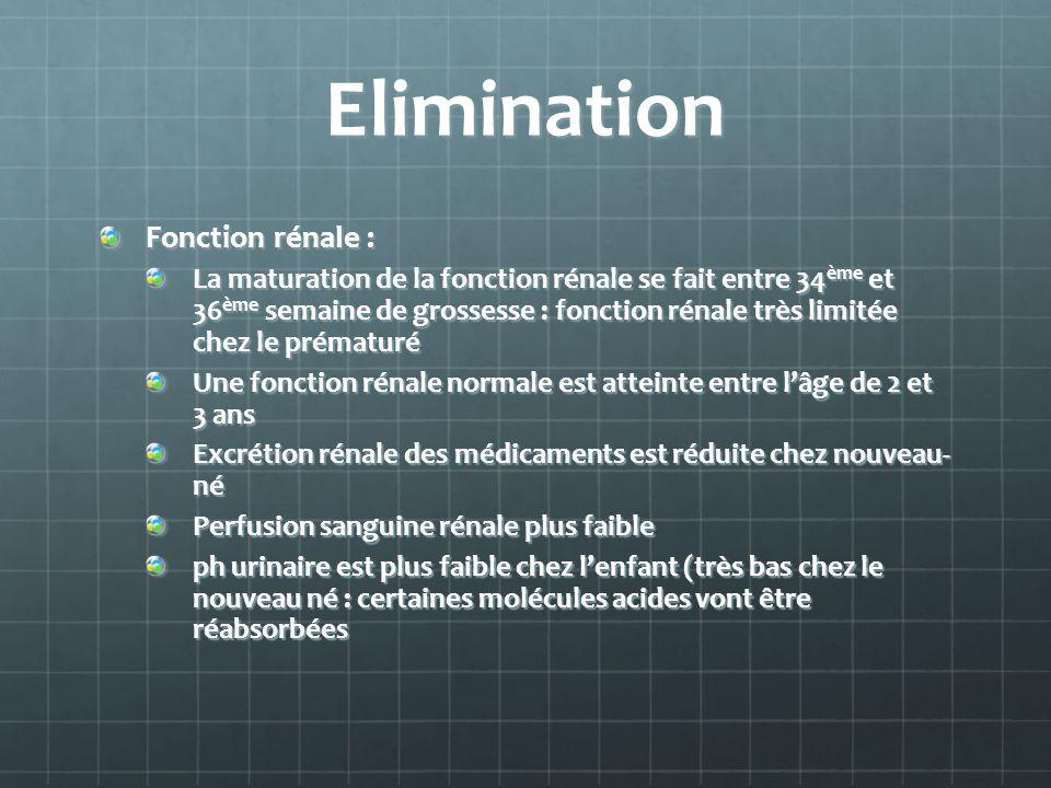 Elimination Fonction rénale : La maturation de la fonction rénale se fait entre 34 ème et 36 ème semaine de grossesse : fonction rénale très limitée c