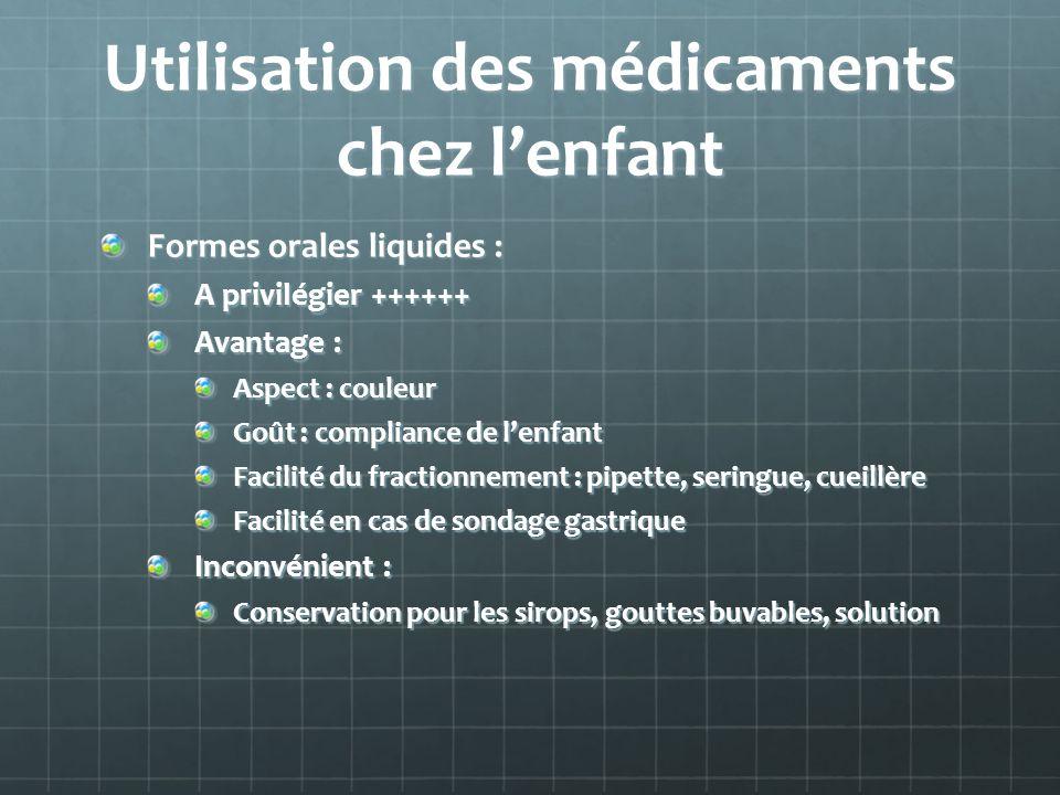 Utilisation des médicaments chez lenfant Formes orales liquides : A privilégier ++++++ Avantage : Aspect : couleur Goût : compliance de lenfant Facili
