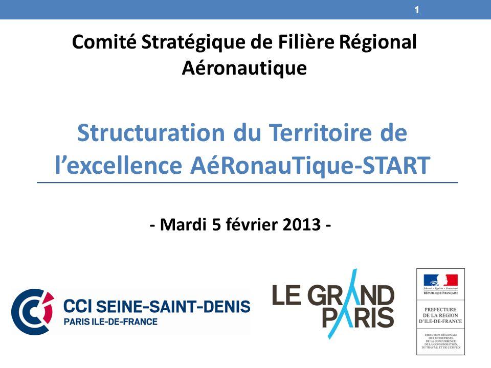 Structuration du Territoire de lexcellence AéRonauTique-START Comité Stratégique de Filière Régional Aéronautique - Mardi 5 février 2013 - 1