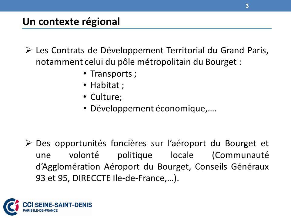 Un contexte régional Les Contrats de Développement Territorial du Grand Paris, notamment celui du pôle métropolitain du Bourget : Transports ; Habitat ; Culture; Développement économique,….