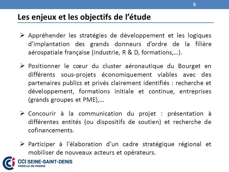 Les enjeux et les objectifs de létude Appréhender les stratégies de développement et les logiques dimplantation des grands donneurs dordre de la filière aérospatiale française (industrie, R & D, formations,…).