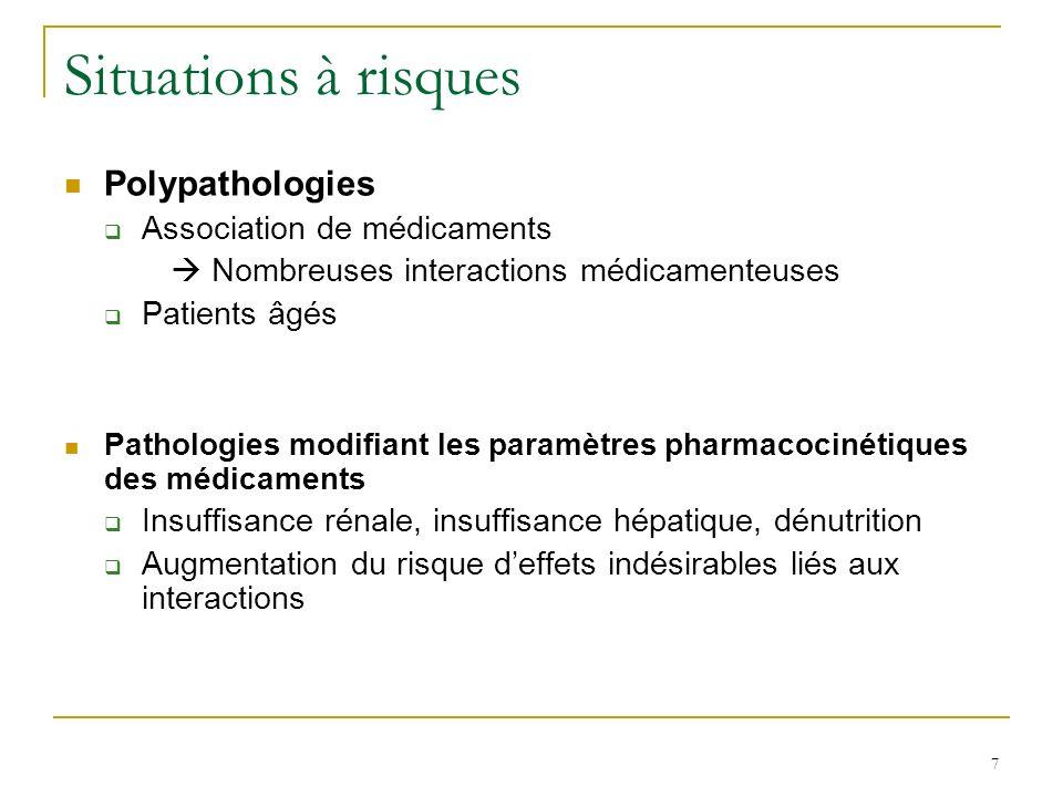 Interactions pharmacodynamiques Rappels : Pharmacodynamie (PD) : étude des effets du médicament sur lorganisme Effets thérapeutiques Effets indésirables 2 types dinteractions pharmacodynamiques Effets additifs Effets contraires 28