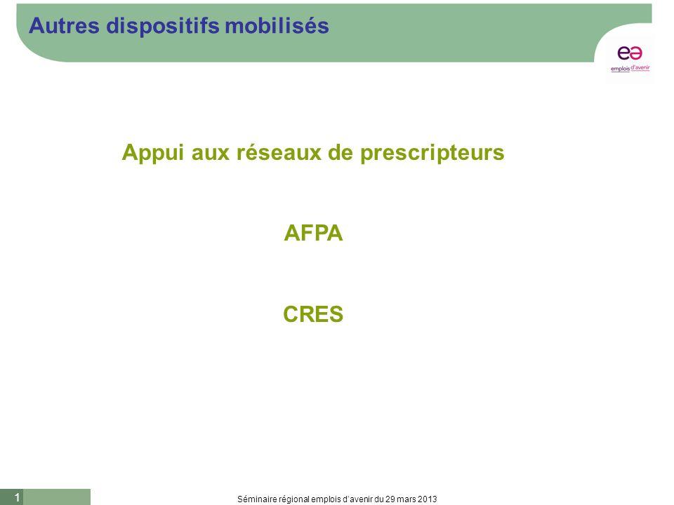 1 Séminaire régional emplois davenir du 29 mars 2013 Autres dispositifs mobilisés Appui aux réseaux de prescripteurs AFPA CRES