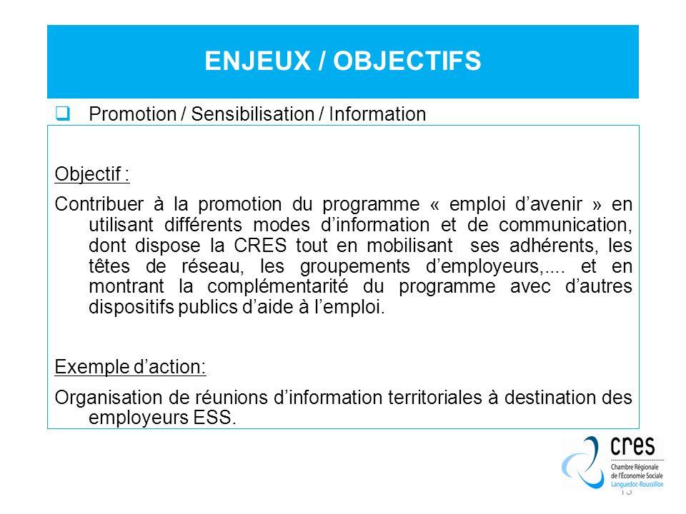13 Promotion / Sensibilisation / Information Objectif : Contribuer à la promotion du programme « emploi davenir » en utilisant différents modes dinfor