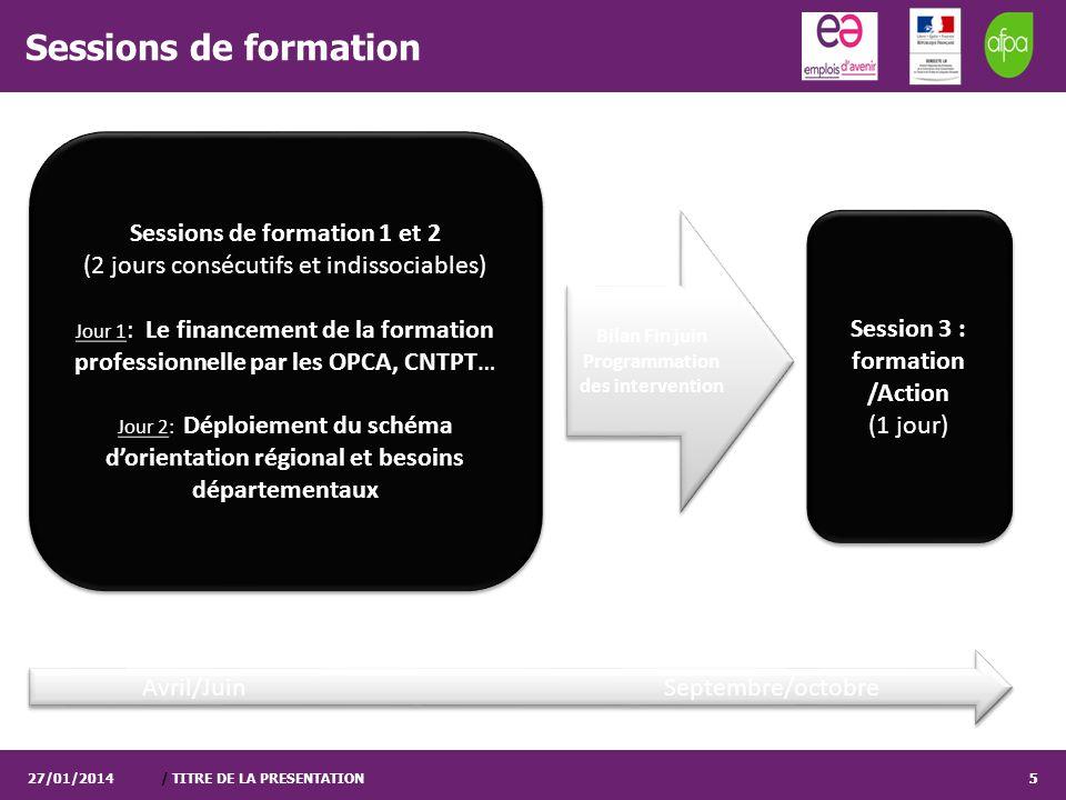 / TITRE DE LA PRESENTATION5 Sessions de formation 27/01/20145 Sessions de formation 1 et 2 (2 jours consécutifs et indissociables) Jour 1 : Le finance