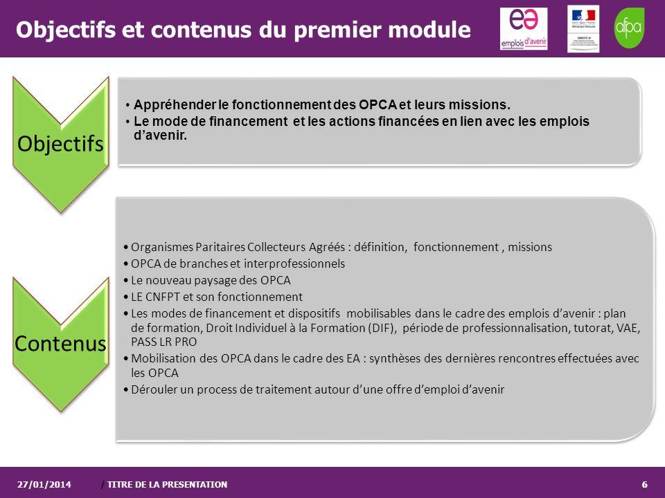 / TITRE DE LA PRESENTATION6 Objectifs et contenus du premier module Objectifs Appréhender le fonctionnement des OPCA et leurs missions. Le mode de fin