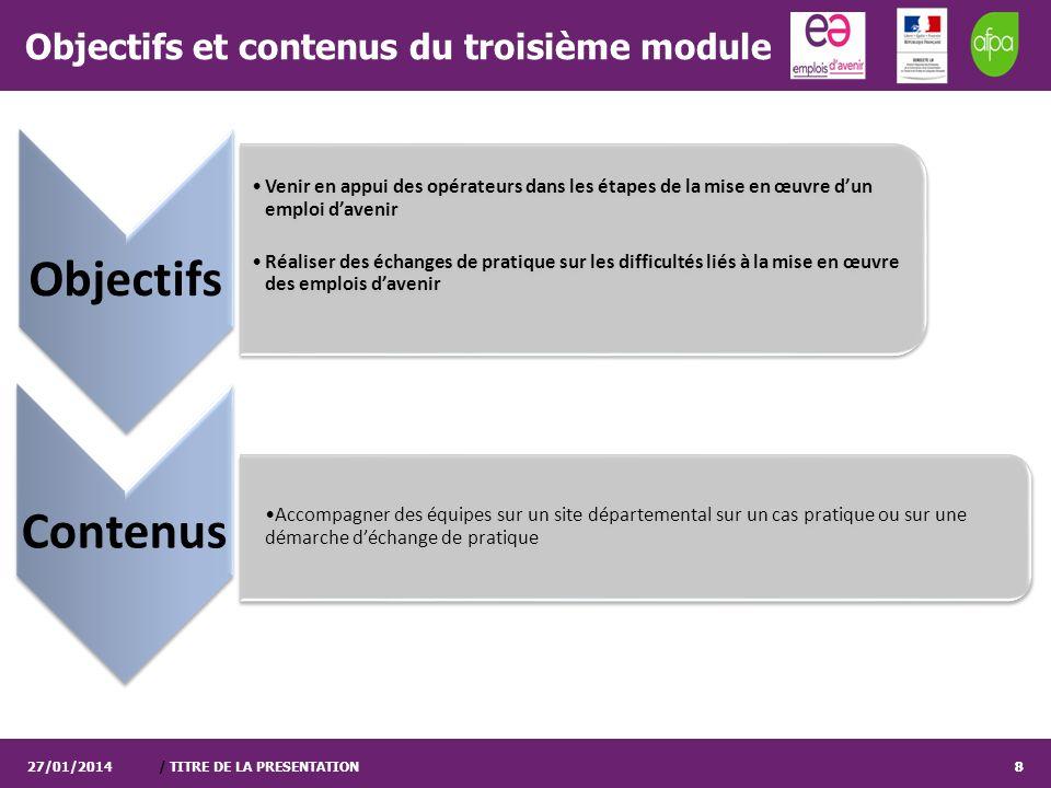 / TITRE DE LA PRESENTATION8 Objectifs et contenus du troisième module 27/01/20148 Objectifs Venir en appui des opérateurs dans les étapes de la mise e