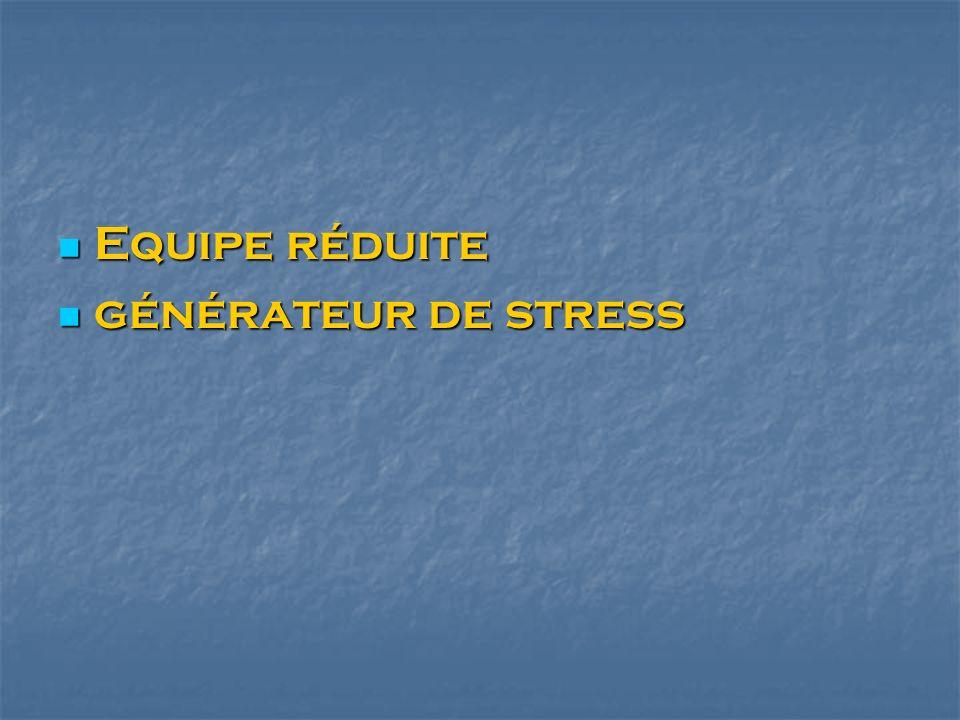 Equipe réduite Equipe réduite générateur de stress générateur de stress