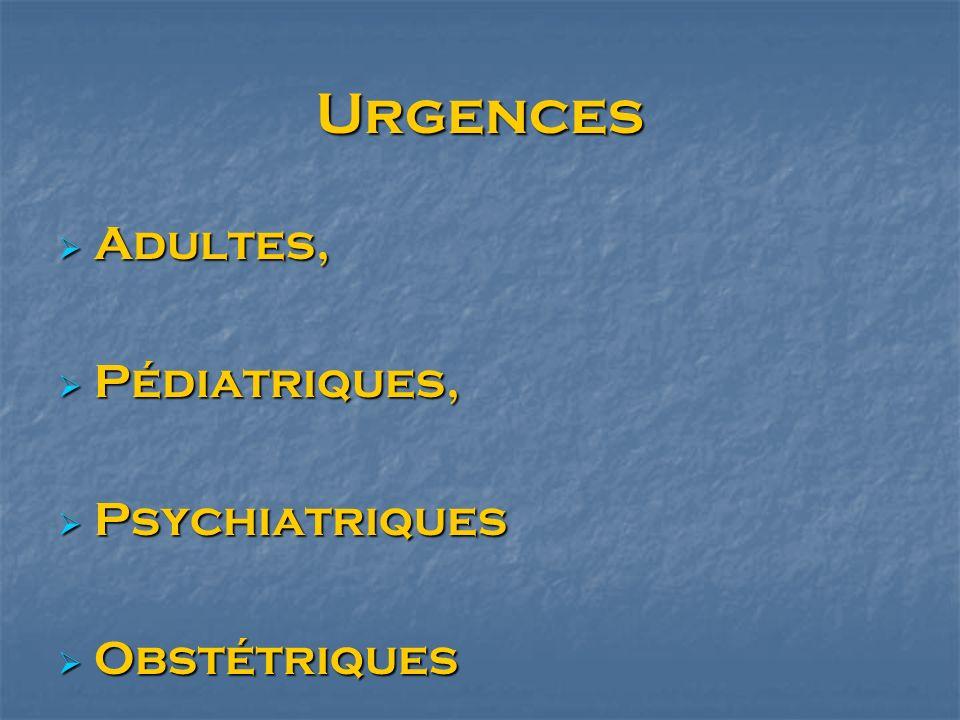 Urgences Adultes, Adultes, Pédiatriques, Pédiatriques, Psychiatriques Psychiatriques Obstétriques Obstétriques