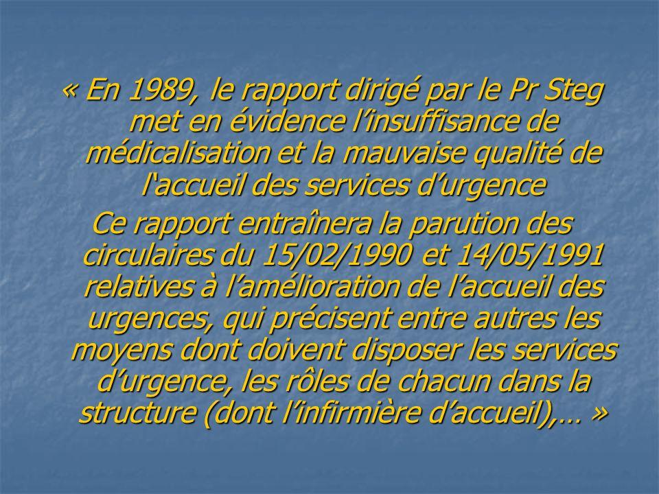 « En 1989, le rapport dirigé par le Pr Steg met en évidence linsuffisance de médicalisation et la mauvaise qualité de laccueil des services durgence C