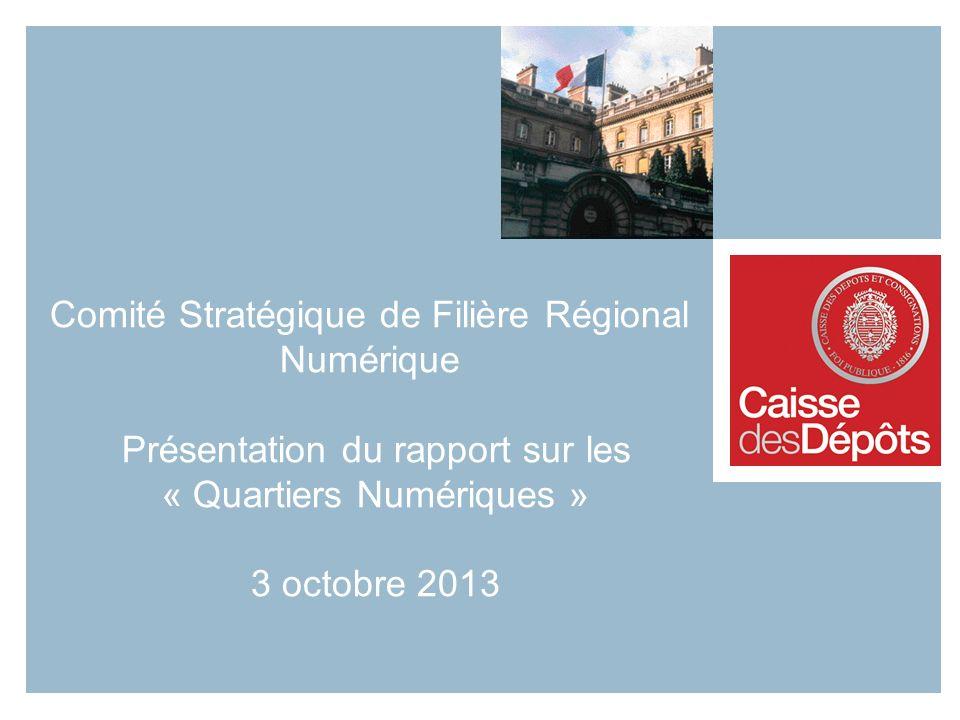 Comité Stratégique de Filière Régional Numérique Présentation du rapport sur les « Quartiers Numériques » 3 octobre 2013