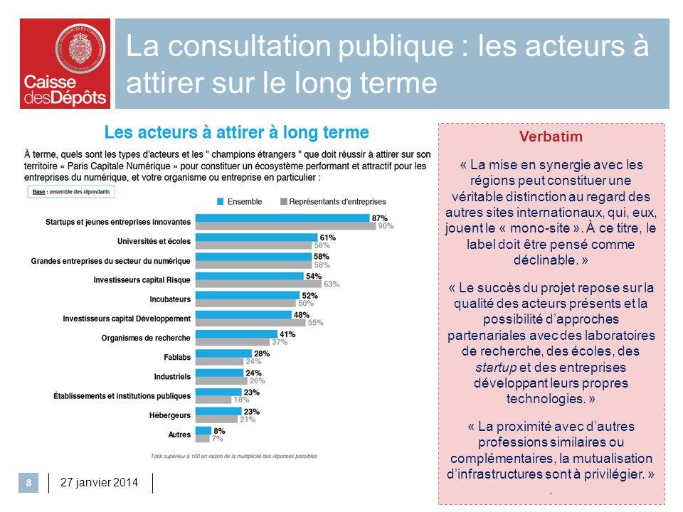 La consultation publique : les acteurs à attirer sur le long terme 27 janvier 2014 8 Verbatim « La mise en synergie avec les régions peut constituer u