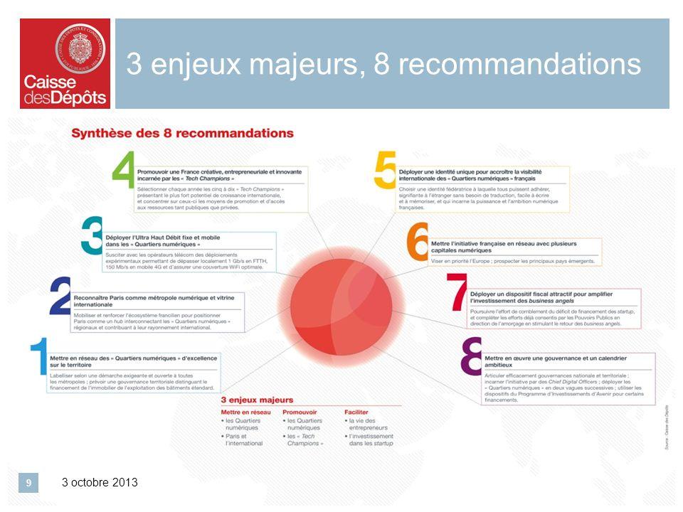 3 enjeux majeurs, 8 recommandations 3 octobre 2013 9