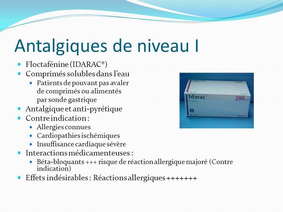 Antalgiques de niveau I Floctafénine (IDARAC®) Comprimés solubles dans leau Patients de pouvant pas avaler de comprimés ou alimentés par sonde gastriq