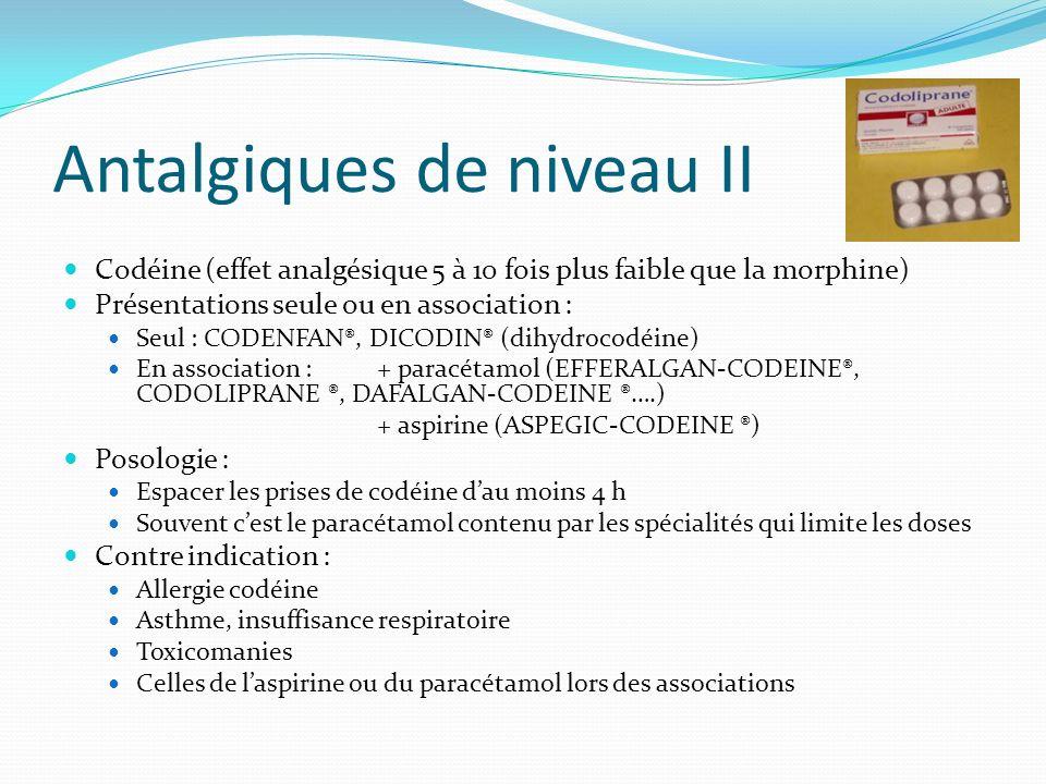 Antalgiques de niveau II Codéine (effet analgésique 5 à 10 fois plus faible que la morphine) Présentations seule ou en association : Seul : CODENFAN®,