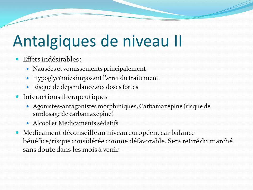Antalgiques de niveau II Effets indésirables : Nausées et vomissements principalement Hypoglycémies imposant larrêt du traitement Risque de dépendance
