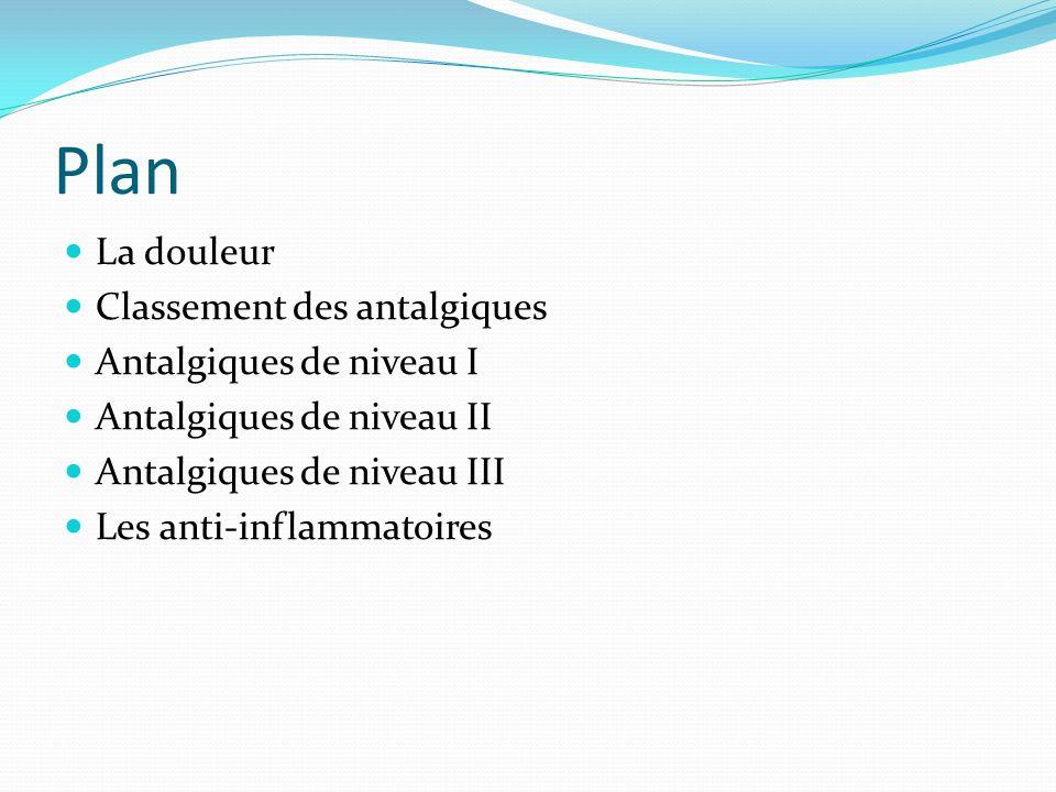 Plan La douleur Classement des antalgiques Antalgiques de niveau I Antalgiques de niveau II Antalgiques de niveau III Les anti-inflammatoires