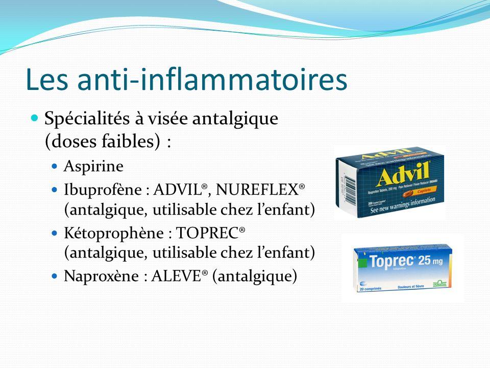 Les anti-inflammatoires Spécialités à visée antalgique (doses faibles) : Aspirine Ibuprofène : ADVIL®, NUREFLEX® (antalgique, utilisable chez lenfant)
