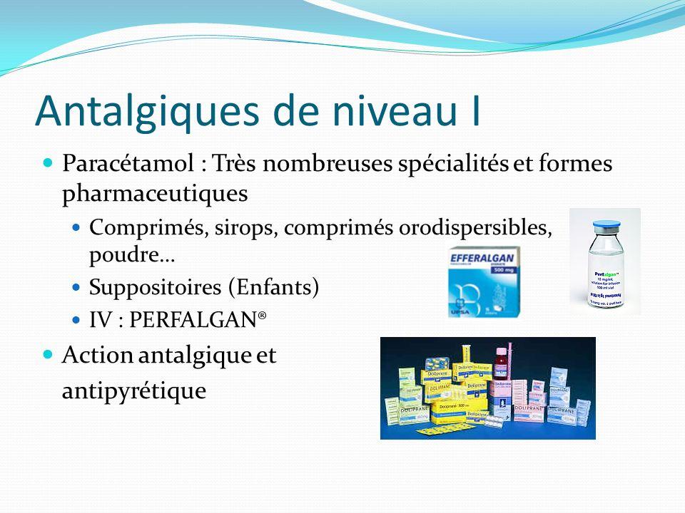 Antalgiques de niveau I Paracétamol : Très nombreuses spécialités et formes pharmaceutiques Comprimés, sirops, comprimés orodispersibles, poudre… Supp