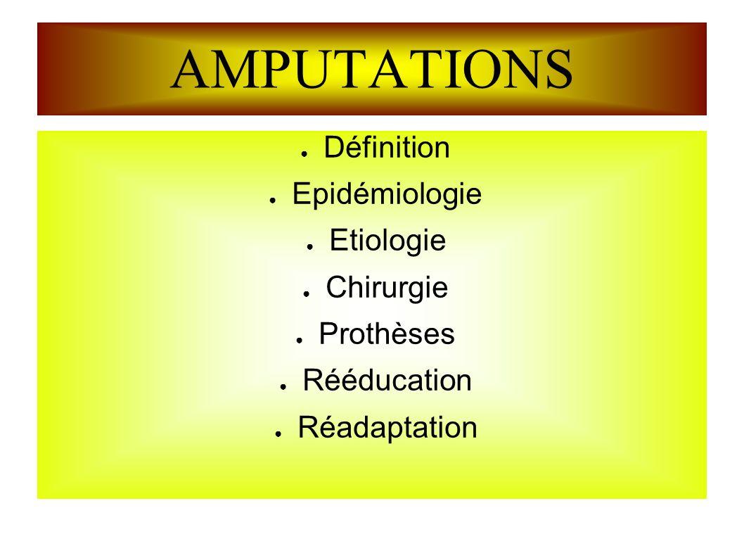 AMPUTATIONS Définition Epidémiologie Etiologie Chirurgie Prothèses Rééducation Réadaptation