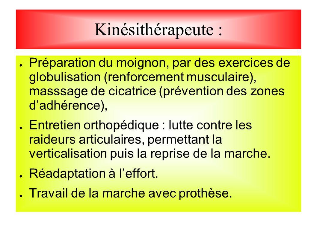 Kinésithérapeute : Préparation du moignon, par des exercices de globulisation (renforcement musculaire), masssage de cicatrice (prévention des zones d