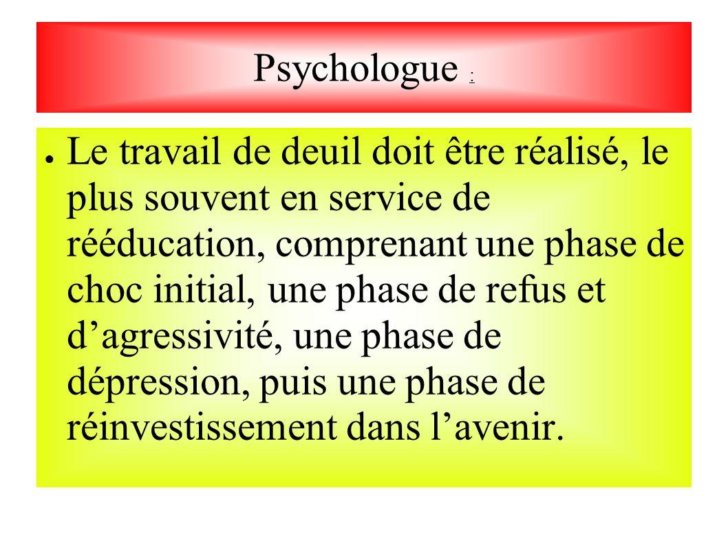 Psychologue : Le travail de deuil doit être réalisé, le plus souvent en service de rééducation, comprenant une phase de choc initial, une phase de ref