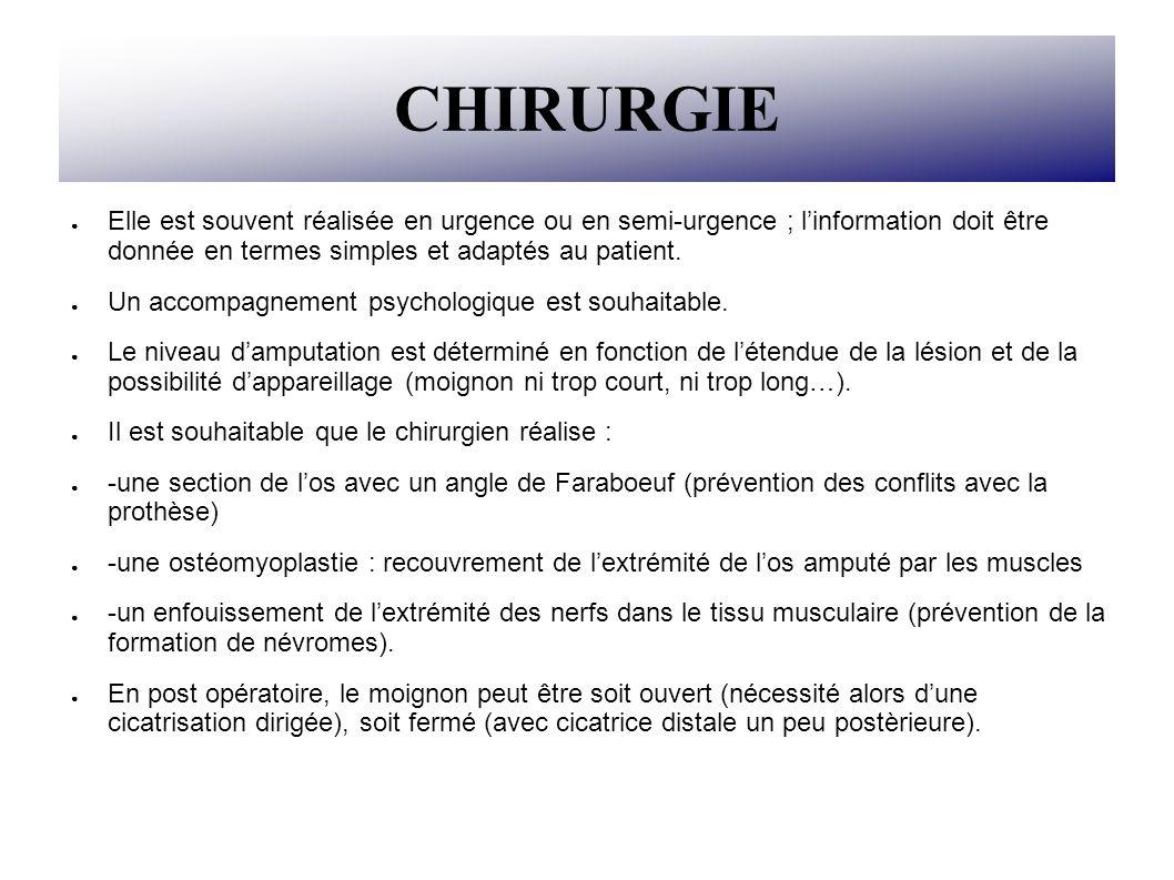 CHIRURGIE Elle est souvent réalisée en urgence ou en semi-urgence ; linformation doit être donnée en termes simples et adaptés au patient. Un accompag