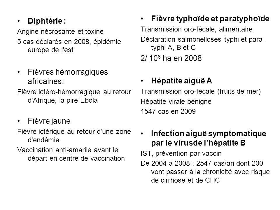 Diphtérie : Angine nécrosante et toxine 5 cas déclarés en 2008, épidémie europe de lest Fièvres hémorragiques africaines: Fièvre ictéro-hémorragique a